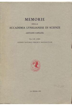 Memorie della Accademia Lunigianese delle Scienze